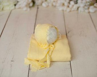 Yellow Newborn Waffle Texture Knit Stretch Fringe Wrap And Bonnet Hat Set, Yellow Newborn Photo, Yellow Props, Newborn Photo, Yellow Bonnet