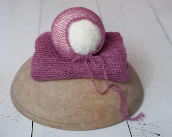 Fuchsia Pink Mohair Knit Newborn Wrap and Bonnet Photography Prop, Stretchy Mohair Wrap, Pink Mohair Newborn Wrap, Pink Mohair Newborn Wrap