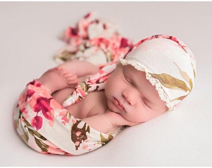 Floral NewbornHat/ Floral Hat/ Floral Wrap/ Floral Sleepy Hat/ Sleepy Cap/ Newborn Floral Set/ Newborn Floral Hat Set/ Newborn Flower Hat