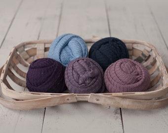 Purple Newborn Waffle Knit Stretch Fringe Wrap, Blue Newborn Texture Wrap, Stretch Knit Wrap , Newborn Photo Props, Newborn Wrap, Newborn