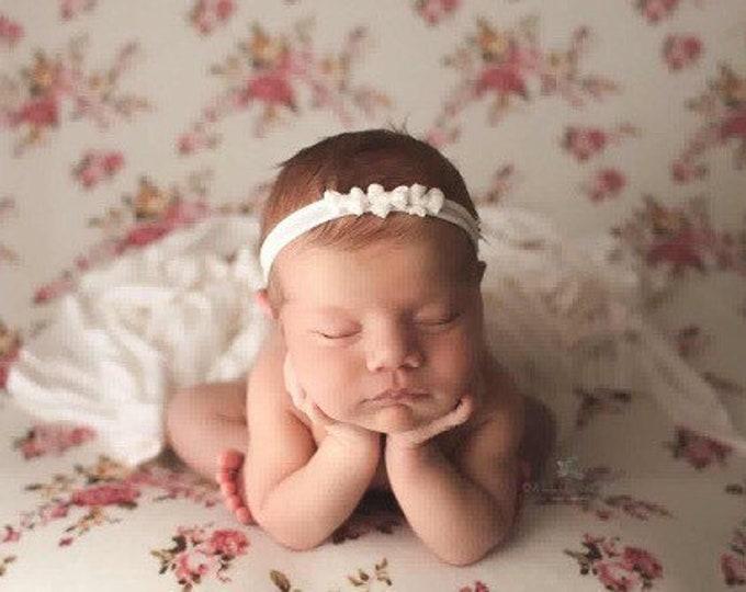 Newborn Ivory Stretch Jersey Tieback Headband Set, Newborn Baby Photo Prop, Baby Bow Tieback Headband, Newborn Baby Girl Tieback, Baby Bow