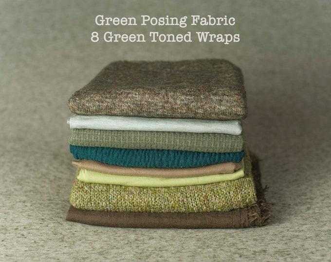 Destash, Greens Newborn Posing Fabric & Wraps Set, Green Newborn Backdrop, Fabric backdrop, Posing Fabric, Green Bean Bag