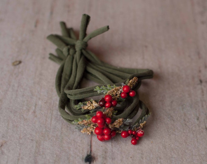 Green Holly Berry Christmas Festive Holiday Newborn Jersey Stretch Tieback Headband Photo Prop