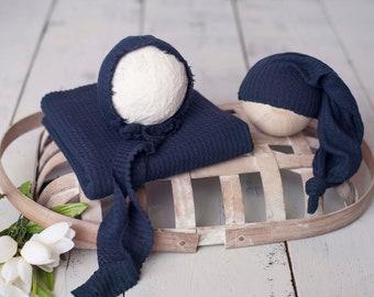 Dark Navy Blue Newborn Waffle Texture Knit Stretch Fringe Wrap And Bonnet Hat Set, Sleepy Cap Set, Newborn Photo Props,  Blue Newborn Photo