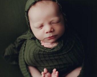 Olive Green Newborn Waffle Texture Knit Stretch Fringe Wrap And Bonnet Hat Set, Newborn Photo Props, Green Newborn Photo Prop