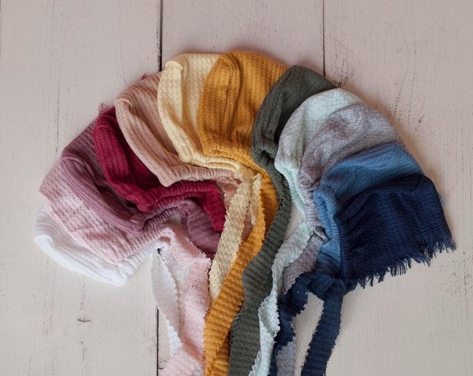 Newborn Waffle Texture Knit Stretch Fringe Wrap And Bonnet Hat Set, Newborn Photo Props, Gray Newborn Photo Prop
