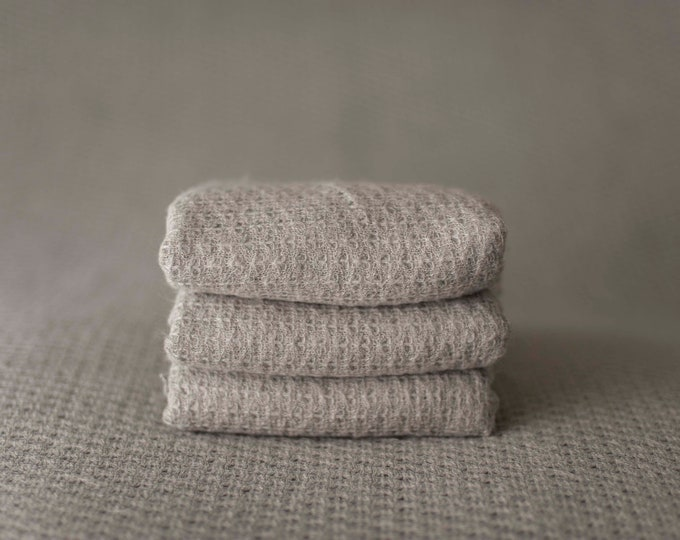 Koala Grey Woven Sweater Scallop Teardrop Pattern Texture Newborn Posing Fabric Layer, Grey Backdrop, Grey Fabric backdrop, Posing Fabric