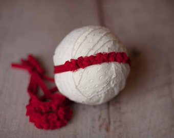 Red Dainty Bows Christmas Holiday Newborn Jersey Stretch Tieback Headband Photo Prop