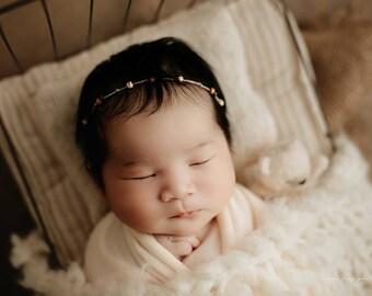 Dainty Wood Bead Newborn Tieback/ Newborn Headband/ Newborn Photo Prop/ Photo Props/ Newborn Headbands/ Newborn Dainty Tieback/ Newborn