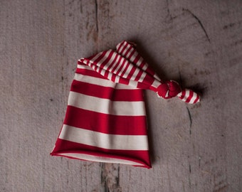 Red and White Stripped Raw Hem Holiday Seasonal Stretch Knit Knotted Sleepy Cap
