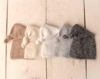 Sidney Knotted Sleepy Cap Knitted Newborn Sleepy Cap for Newborn Photography, Soft Knit Knotted Sleepy Cap Newborn Hat