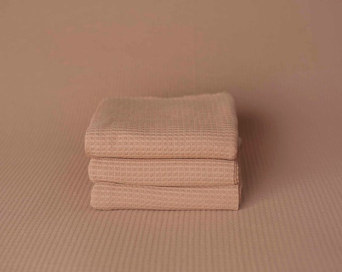 Khaki Grid Texture Waffle Newborn Photography Beanbag Cover Fabric Photo Prop