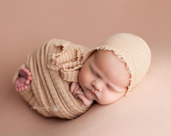 Khaki Newborn Waffle Texture Knit Stretch Fringe Wrap And Bonnet Hat Set, ivory Newborn Photo Props, Gray Newborn Photo Prop