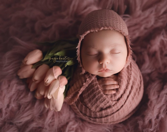 Mauve Newborn Waffle Texture Knit Stretch Fringe Wrap And Bonnet Hat Set, Newborn Photo Props, Mauve Newborn Photo Prop