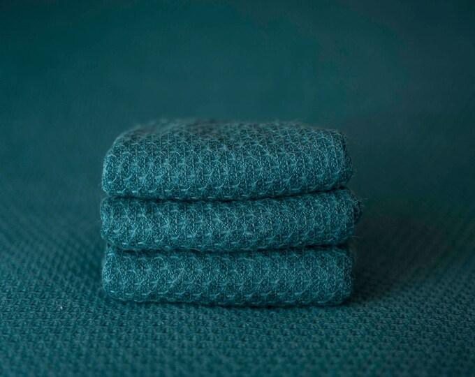 Peacock Blue Teal Woven Sweater Scallop Teardrop Pattern Texture Newborn Posing Fabric Layer, Backdrop, Fabric backdrop, Posing Fabric