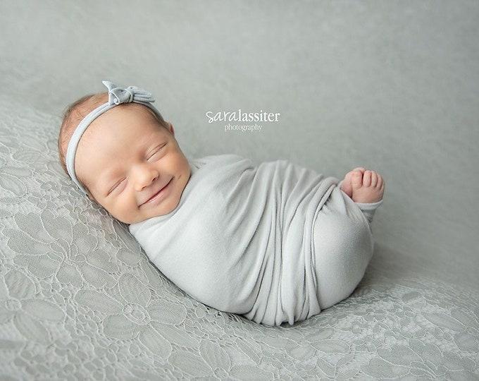 Gray Lace Applique Neutral Texture Newborn Posing Fabric, Backdrop, Fabric backdrop, Posing Fabric, Gray Bean Bag, Beanbag Fabric