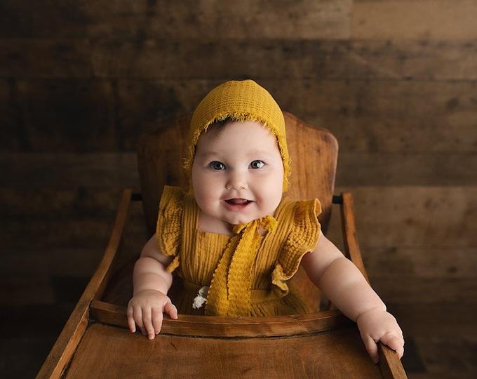 Sitter Size Waffle Knit Bonnet With Fringe, Sitter Bonnet Hat, Baby Bonnet , Sitter Photo Props, Sitter Photography Hat Prop