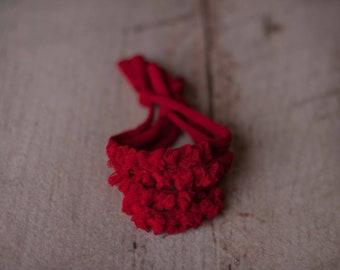 Red Christmas Bow Holiday Newborn Jersey Stretch Tieback Headband Photo Prop