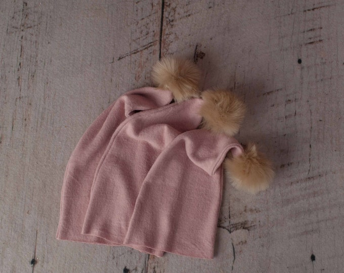 Pink Soft Pom Raw Hem Newborn Girl Sleepy Cap Photography Prop