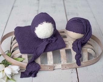Eggplant Purple Newborn Waffle Texture Knit Stretch Fringe Wrap And Bonnet Hat Set, Sleepy Cap Set, Newborn Photo Props, Newborn Photo