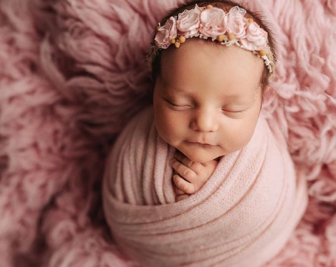 Crepe Pink Stretch Sweater Wrap Photography Photo Prop, Crepe Pink Stretch Sweater Wrap, Newborn Wrap, Newborn Wrap, Pink Newborn Photo Prop