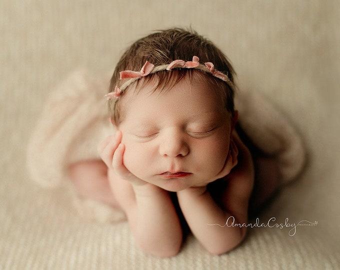 Pink Ties Velvet Dainty Rustic Newborn Tieback/ Pink Rustic Tieback/ Newborn Photography Prop/ Pink Velvet Tieback/ Sitter Dainty Headband