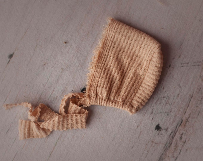 Newborn Waffle Knit Bonnet With Fringe, Newborn Bonnet Hat, Baby Bonnet , Newborn Photo Props, Newborn Wrap, Newborn Photography Hat Prop