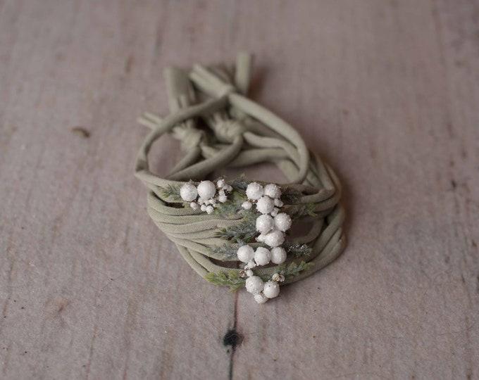Sage Green Winter White Berry Christmas Festive Holiday Newborn Jersey Stretch Tieback Headband Photo Prop