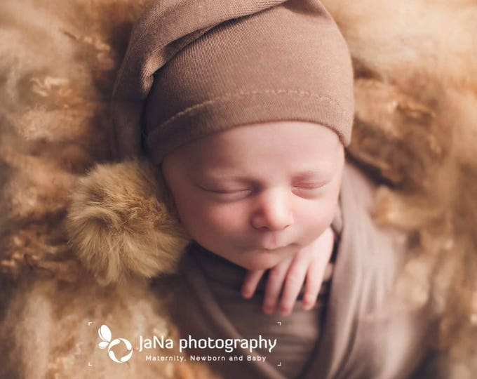 Brown Sleepy Hat/ Newborn Brown Sleep Hat/ Pink Sleep Hat/ Photo Prop Pink Night Hat/ Pompom Hat/ Knitted Sleepy Hat/ Photo Prop Night Cap