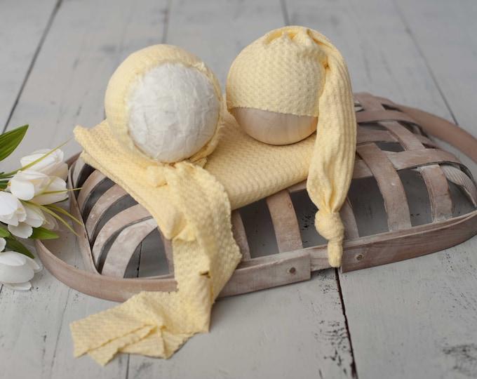 Sunshine Yellow Newborn Waffle Texture Knit Stretch Fringe Wrap And Bonnet Hat Set, Sleepy Cap Set, Newborn Photo Props, Newborn Photo