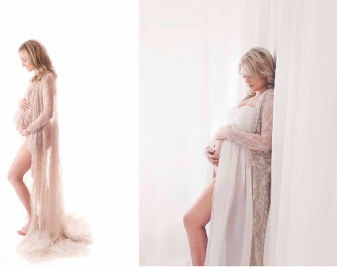 Destash- Taupe Sheer Lace Maternity Robe-Fits Small-Medium