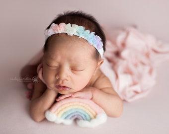 Newborn Rainbow Baby Halo Tieback/ Dainty Rainbow Baby Halo Tieback / Rainbow Baby Photo Prop / Sitter Rainbow Halo / Rainbow Baby Headband
