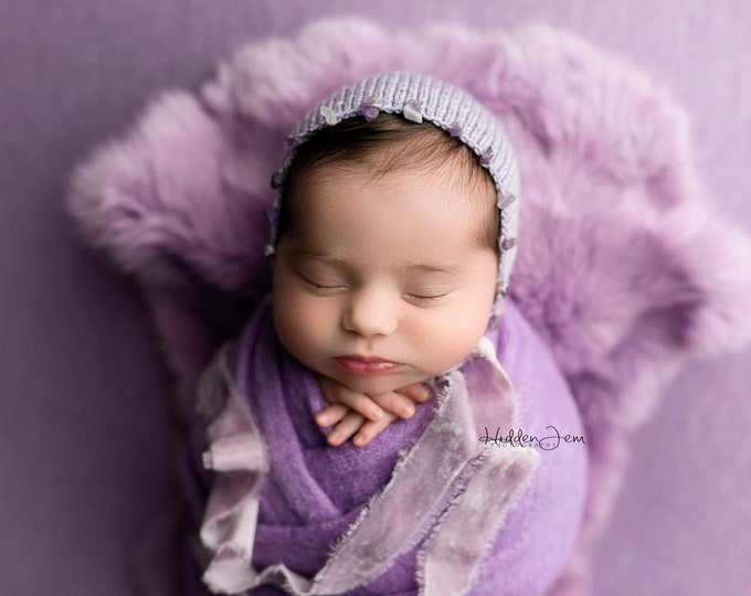 Periwinkle Purple Natural Dyed Fur Newborn Posing Photography Prop, Newborn Fur Prop, Newborn Basket Filler Prop, Posing Fur Prop, Newborn