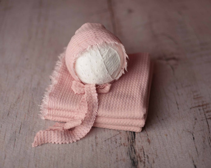 Dusty Pink Newborn Waffle Texture Knit Stretch Fringe Wrap And Bonnet Hat Set, Newborn Photo Props, Newborn Photo