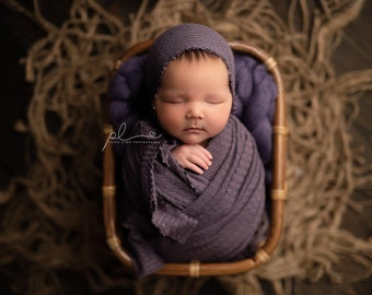 Lavender Purple Newborn Waffle Texture Knit Stretch Fringe Wrap And Bonnet Hat Set, Newborn Photo Props, Lavender Newborn Photo Prop
