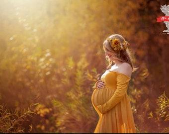 Destash- Mustard Yellow Long Sleeved Maternity Dress Medium