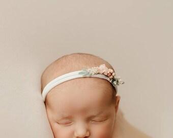 Floral Newborn Tieback/ Newborn Headband/ Newborn Photo Prop/ Photo Props/ Newborn Headbands/ Newborn Flower Crown/ Newborn Halo/ Newborn
