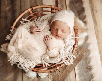 Champagne Sidney Sleeper Fuzzy Knitted Footed  Newborn Romper for Newborn Photography, champagne cream Soft Knit Romper and Bonnet Newborn