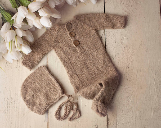 Tan Brown Sidney Sleeper Fuzzy Knitted Footed Newborn Romper for Newborn Photography, Tan Brown Soft Knit Romper and Bonnet Newborn Out Set