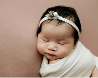 Winter Snow Kissed Christmas Festive Holiday Newborn Jersey Stretch Tieback Headband Photo Prop