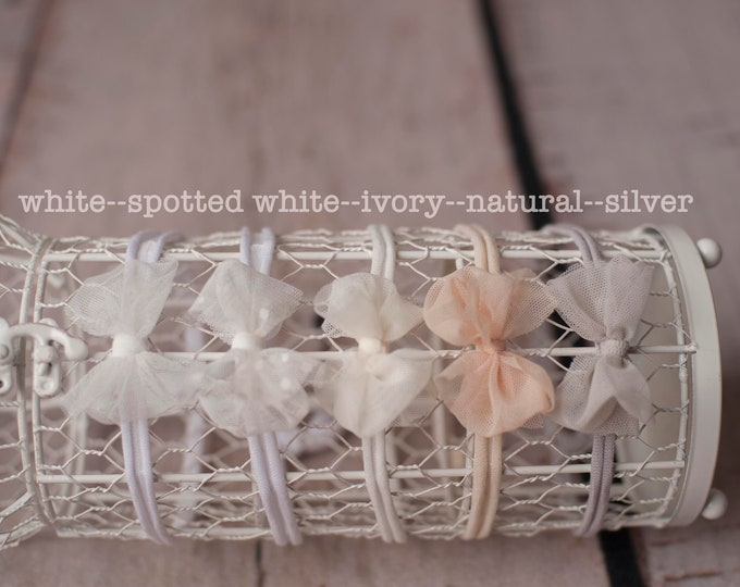 Neutral Bow Tieback/ Ivory Newborn Tieback/ Bow Tieback/ Tieback/ Headband/ Newborn Photography Prop/ Newborn Bow/ Tieback Prop/ Big Bow