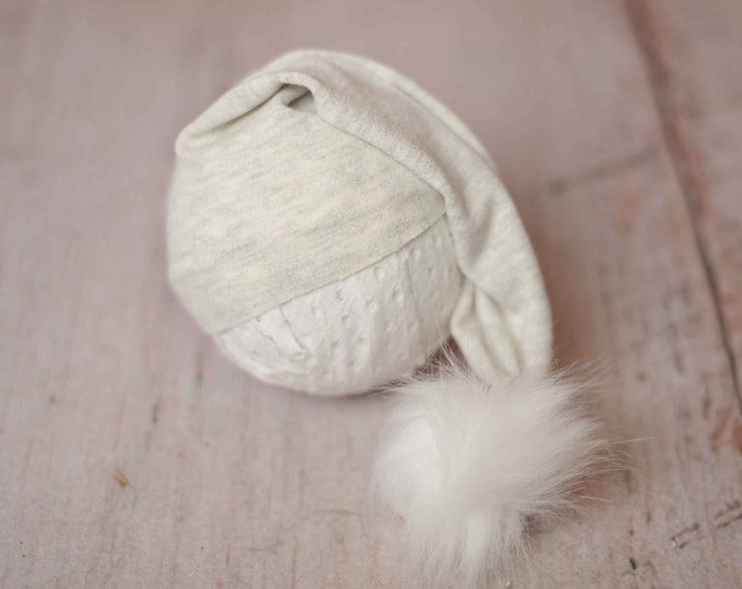 Oatmeal Cream Stretch Unhemmed Raw Edge Pom Newborn Sleepy Cap Hat/ Newborn Photography Prop/ Newborn Sleepy Cap/ Newborn Hat