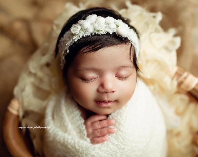 Frosted Ivory Newborn Tieback Headband, Newborn Photography Prop