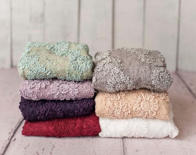Floral Lace Neutral Texture Newborn Posing Fabric, Newborn Backdrop, Fabric backdrop, Posing Fabric, Cream Bean Bag, Lavender Beanbag Fabric