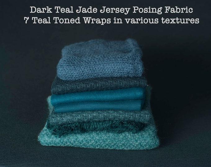 Destash, Dark Teal Turquoise Newborn Posing Fabric & Wraps Set, Teal Newborn Backdrop, Fabric backdrop, Posing Fabric, Teal Bean Bag