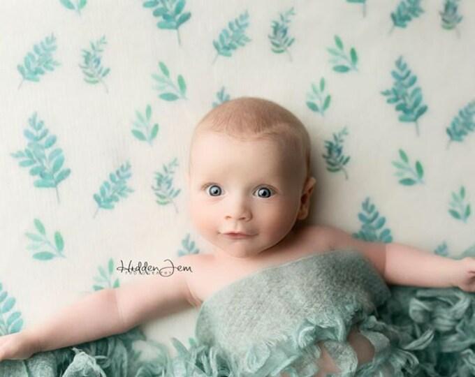Fern Leaf and Floral Fuzzy Beanbag Posing Fabrics, Custom Backdrop, Soft Halo Fuzzy Backdrop, Organic Fern Backdrop