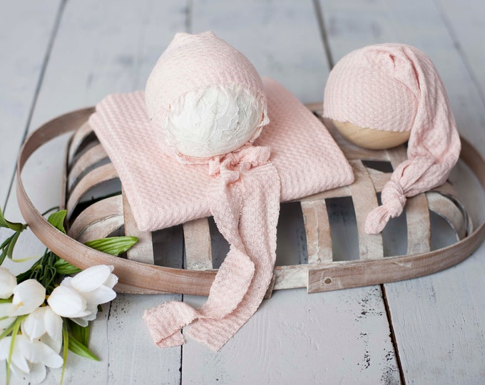 Blush Pink Newborn Waffle Texture Knit Stretch Fringe Wrap And Bonnet Hat Set, Sleepy Cap Set, Newborn Photo Props,  Pink Newborn Photo