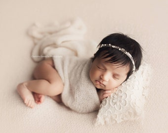 Beaded Rustic Newborn Tieback/ Newborn Headband/ Newborn Photo Prop/ Photo Props/ Newborn Headbands/ Newborn Dainty Tieback/ Newborn Halo