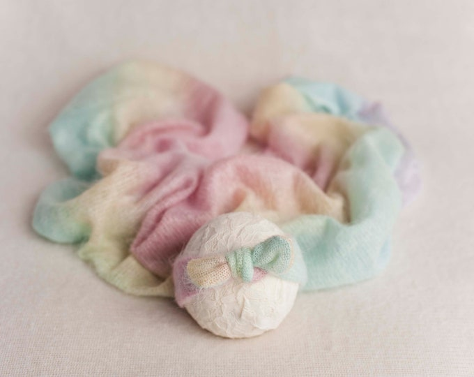 Pastel Rainbow Baby Stretch Knit Wrap Layer And Matching Bowtie Headband, Pastel Rainbow Wrap, Newborn Baby Rainbow Wrap, Rainbow Baby Wrap