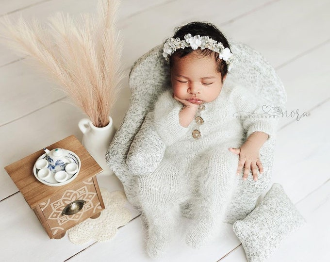 Light Gray Sidney Sleeper Fuzzy Knitted Footed  Newborn Romper for Newborn Photography, Gray Soft Knit Romper and Bonnet Newborn Out Set